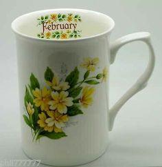 "February"" Bone China Flower of the Month Mug"