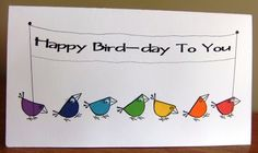 handmade birthday card from This, that and everything inbetween . short and wide format . fun birds colored in rainbow colors in rainbow order march across the page carrying the sentiment sign . Rainbow Card, Rainbow Colors, Happy Birthday Rainbow, Happy Bird Day, Hand Made Greeting Cards, Rainbow Connection, Watercolor Cards, Watercolour, Idee Diy