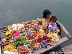At the floating market of Halong Bay in Vietnam
