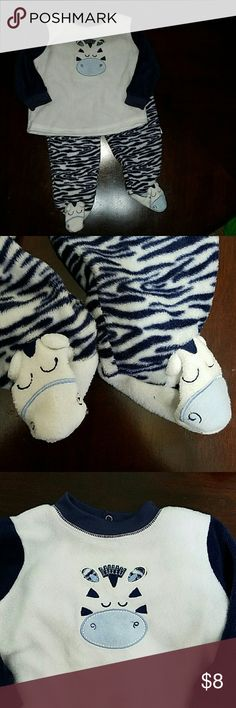 Fleece zebra outfit Navy blue and white fleece outfit.  Pants are zebra striped with zebra heads as the feet . Vitamins Baby Matching Sets
