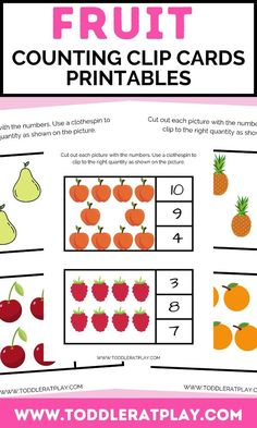 These Fruit Counting Clip Cards are fun! Perfect for toddlers, preschoolers and early grades. Cut out each card with picture and numbers. Use clothespins, pom-poms, any loose parts (even dot markers!) to mark the correct number for each fruit. In this PDF file, there will be 5 pages with cards to help kids learn numbers 1-10. #printables #countingprintables #fruitsprintables #preschoolprintables Activities For 2 Year Olds, Number Activities, Indoor Activities For Kids, Toddler Activities, Preschool Printables, Preschool Activities, Learn To Count, Learning Numbers, Preschool Learning