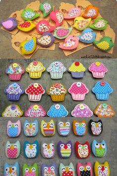 Felt birds, cupcakes, and owls