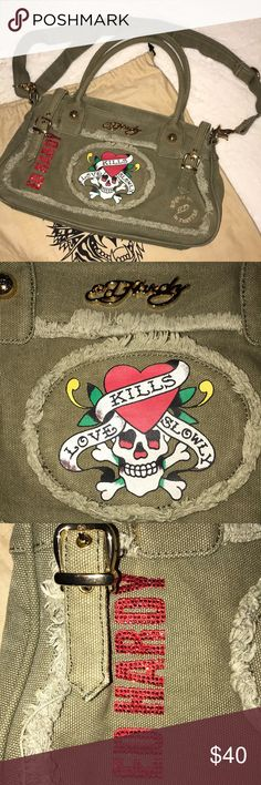 Ed Hardy Army Green Denim Purse Ed Hardy Logo Army Green Denim Purse - Shoulder Bag with longer, adjustable strap that can be worn as a cross-body or just longer side bag. Very versatile and can transition to day or night. Has zipper closure and two open inner pockets along with one zippered inner pocket. Can hold a lot!! In fantastic condition with brass hardware. Ed Hardy Bags Shoulder Bags