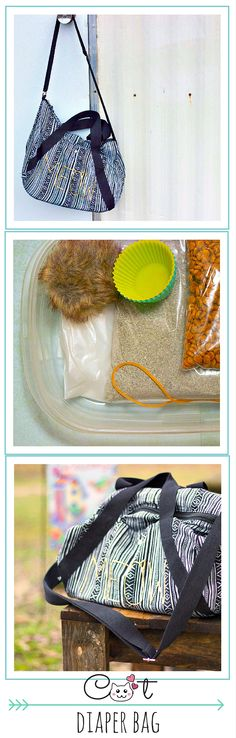 Cat diaper bag | Does it ever seem like your cat has more luggage than you do when your furry friend travels with you? Change that by filling a small bag with a few cheap items to replace the litter box, bowls, food, and poop scoop that can be so bulky and hard to carry. After making this, I wished it had been in my life years ago!