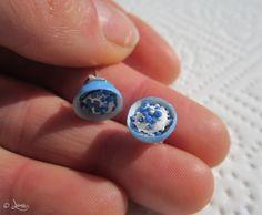 Blueberries in bowl - earring, áfonya tálban - fülbevaló