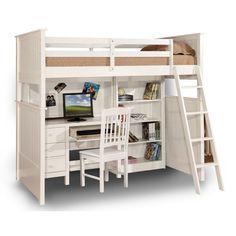 Wildon Home Desk with Cork Back Hutch for Loft Bed Finish: White