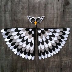 """Magical Owl Costume """"Snow Owl"""" Wings and Mask: 0-24 months/ 2-5 years / 5-10 years- Eco Friendly! Tree + Vine"""