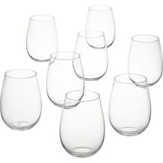 CB2 Set Of 8 True Stemless Wine Glasses ($18) ❤ liked on Polyvore featuring home, kitchen & dining, drinkware, kitchen, glass water goblets, wine goblets, wine glass, glass drinkware and white wine glass