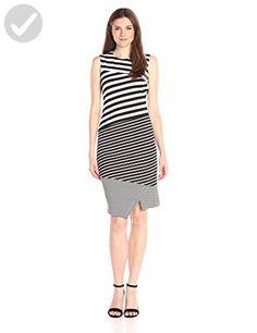 Calvin Klein Women's Textured Mix Stripe Dress, Black/Soft White Combo, 10 - All about women (*Amazon Partner-Link)