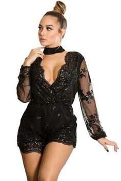 Black Sequin Embroidery Sheer Long Sleeve Romper