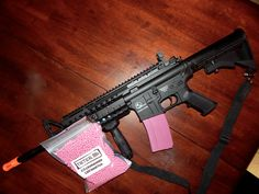 Just a dash of pink!   ASG Sportline Armalite M15 ARMS S.I.R. System M4 Airsoft AEG Rifle #airsoft #ladyairsofter