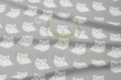 Lovely and trendy owls pattern. The owls are 7 cm high and are in rows every 11 cm. The owls are white and the background is pastel grey. The pattern coordinates with our grey elephants and grey...