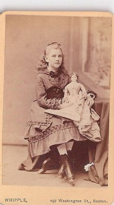 American girl with french fashion doll,  photo studio Whipple Boston, 1880's.