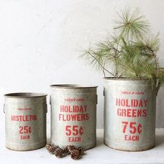 Not paying $146 for this cute set of metal buckets from Antique Farmhouse.  Plan to recycle an old popcorn tin and two more smaller tins with galvanized spray paint and a stencil to replicate this cute, but overpriced idea!