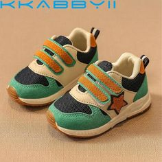 Voberry@ Little Kids Boys Cotton Fabric Sneaker Rubber Sole Mesh Breathable Running Baby Shoes