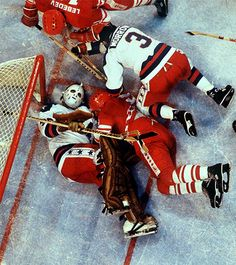 "USA goalie Jim Craig (30) and defenseman Ken Morrow (3) defend the net during the team's 1980 medal-round game against the USSR, which was played 32 years ago today. The U.S. pulled off one of the greatest upsets in sports history with a 4-3 victory and would go onto defeat Finland in the gold medal game and complete the ""Miracle on Ice."" (Heinz Kluetmeier/SI)  GALLERY: Photos of the Miracle on Ice 