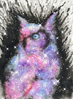 Cosmic Owl Giclee Fine Art Print of Watercolor Painting by TulaczFineArts; outer space art, owl art, great horned owl, owl lover, owl decor, galaxy, nebula, cosmos, universe, milky way, space decor, owl decor, geek gift, nerd gift, science gift, astronomy, stars, owls