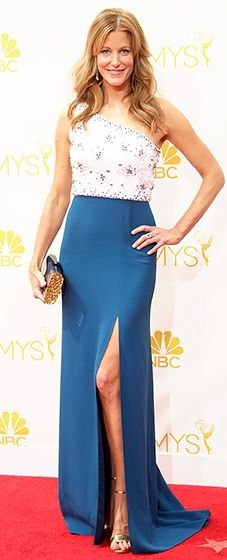 Breaking Bad beauty Anna Gunn wore a one-shouldered Jenny Packham gown at the 2014 Emmys.