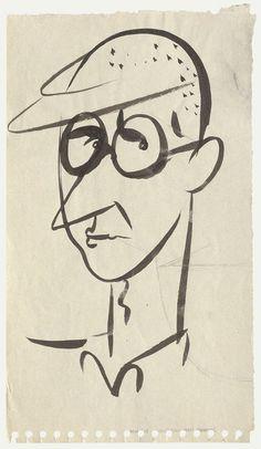 Eva Herrmann, karikierende Porträtzeichnung von Bertolt Brecht, circa 1937