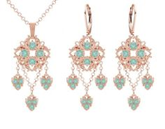 Stunning Jewelry Set Pendant and Earrings by Lucia Costin Adorned with Mint Blue Swarovski Crystals Fancy Dots Falling Chains and Dangle Stones 24K Pink Gold Plated over 925 Sterling Silver Handmade in USA *** You can find more details by visiting the image link.(This is an Amazon affiliate link)