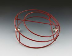 Red Structural Circle Brooch side view by Wantoot