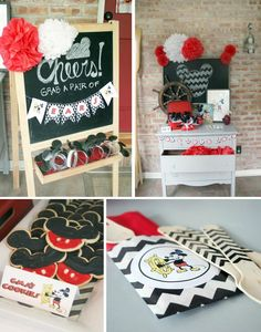 Vintage Mickey Mouse Party with Lots of Great Ideas via Kara's Party Ideas… Mickey Mouse Clubhouse Birthday Party, Mickey Mouse Parties, Mickey Party, Mickey Mouse Birthday, Boy Birthday Parties, 3rd Birthday, Birthday Ideas, Theme Mickey, Mickey Y Minnie
