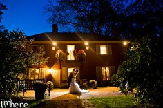 Evening Photo of Bride and Groom in Side Garden at Brantwyn Mansion in Wilmington, DE Photo by: Jim Heine Photography  www.DuPontCountryClub.com/weddings