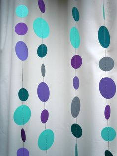 Cool Water Colored Paper Garland by HookedonArtsNCrafts on Etsy
