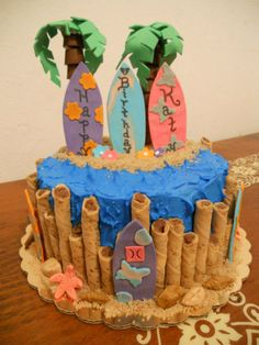 Surfs up - This cake I made for my niece. She loves surfing and that's what she wanted for her birthday cake. Surfboards are gumpaste, palm trees are made out of Rolos candies and leaves are gumpaste. Seashells are gumpaste too.