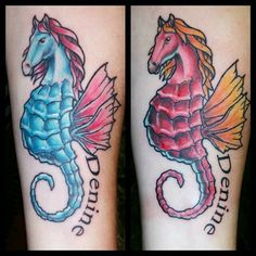 ae31e4710 Better than the horses on #inkmaster. Matching tattoos on sisters. Custom  drawing by
