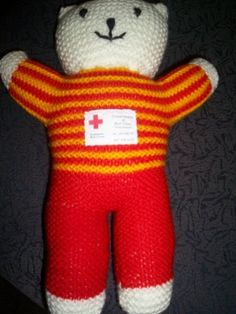 How to make a Trauma Teddy - Trauma Teddies are given out to people (usually children) who are suffering a traumatic experience. The Red Cross(In Australia) donate the teddies to hospitals, emergency services, police, fire brigades and nursing homes who then give them to people suffering trauma.