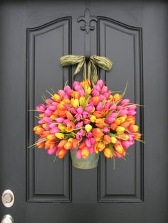Spring Wreaths Tulips Farmhouse Door Wreaths Tulips Mother's Day Wreath Easter Wreaths Easter Tulips Trending Wreaths Shabby Chic Decor. $110.00, via Etsy.