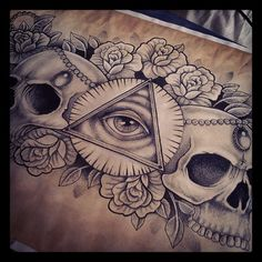 Skull and Illuminati Chest Piece tattoo design by Kirsty Noelle.