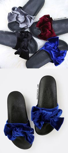 Bow Tie Velvet Slide Sandals BLUE