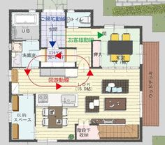 ぴたホーム ~新・琉球建築の家~:回遊動線・ご帰宅動線・お客様動線 Villa Plan, Japanese House, House Layouts, Exterior Design, Laundry Room, Interior Architecture, House Plans, Floor Plans, House Design