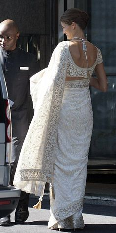 Back view of the wedding saree or sari of Kendra Spears, now Princess Salwa Aga Kahn, following her marriage to Prince Rahim Aga Khan, August 31, 2013.