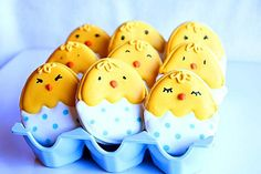 Chick cookies for Easter made from and egg shaped cookie cutter.