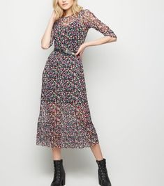 cf569a16f63 Black Bright Floral Mesh Midi Dress