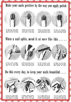 ideas nail manicure tips for 2019 Retro Makeup, Vintage Makeup, Vintage Beauty, 1940s Makeup, Manicure Tips, Beauty Nails, Hair Beauty, Pelo Vintage, Vintage Nails