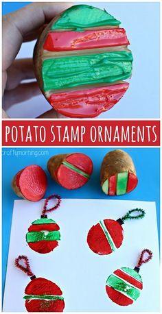 Potato Stamping Craft: Christmas Ornament Bulbs (Christmas craft for kids to make) #Card idea | CraftyMorning.com                                                                                                                                                                                 More