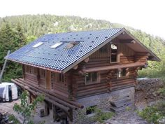 Build a Stone and Log House in France. Photo journal chronicles stone and log building process. Stone House Plans, My House Plans, Stone Exterior Houses, Stone Houses, Cabin Homes, Log Homes, Stone Cabin, Alpine House, House Plan With Loft