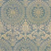 Catherine of Aragon ~ Provencal Blue and Gold ~ Extra Large  by peacoquettedesigns, Spoonflower digitally printed wallpaper