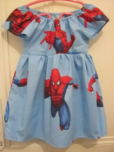 Items similar to Girls Action Hero Kitsch Party Dress 24 inch chest on Etsy Spiderman Dress, Vintage Crafts, Kitsch, Party Dress, My Etsy Shop, Hero, Summer Dresses, How To Make, Handmade
