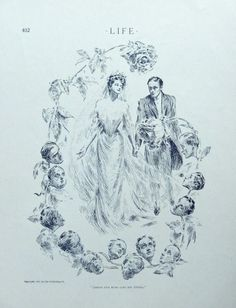 Jamais une rose sans ses epines  Rare 1904 B W Illustration  bride and groom  Life Magazine Art