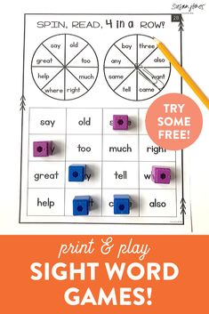 These sight word games are a fun way for kindergarten, first grade, and second grade students to practice their sight words. Try two different print and play sight word games entirely FREE over on the blog!