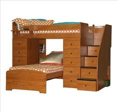 Twin Over Twin Space Saver Bunk Bed With 2 Chests By Berg Furniture, Made In