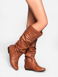 Amazon.com: Qupid Women's Classic Slouchy Flat Boot: Shoes