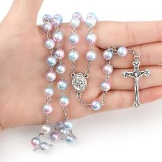 7 Colors Rosary Round Pearl Beads Catholic Rosary With Holy Soil Charm Crucifix Prayer Religious Jewelry Rosary Catholic, Rosary Beads, Religious Jewelry, Crucifix, No Name, Pearl Beads, Pendants, Chain Necklaces, Beautiful