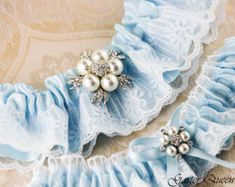 Blaue Spitze Strumpfband Set Hochzeit Strumpfband von louloudimeli