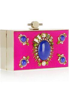 Karlie crystal and stone-embellished satin box clutch ($2,195.00) - Svpply